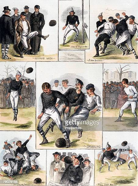Sport, Football, November 1872, Scotland 0 v England 0, A hand-coloured engraving depicting incidents from the historic first match between Scotland...