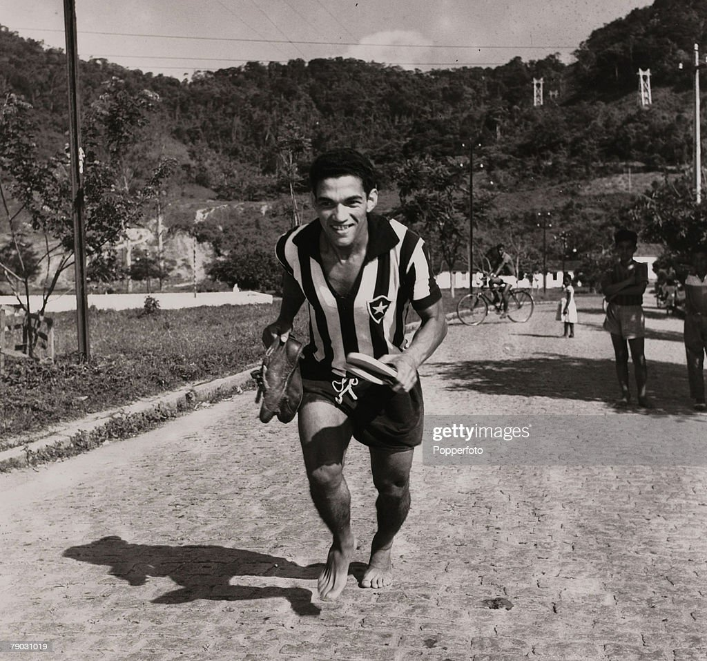 Sport. Football. November 1957. Brazilian star Garrincha pictured in his Botafogo club strip. Garrincha was a double World Cup winner with Brazil in 1958 and 1962. : News Photo