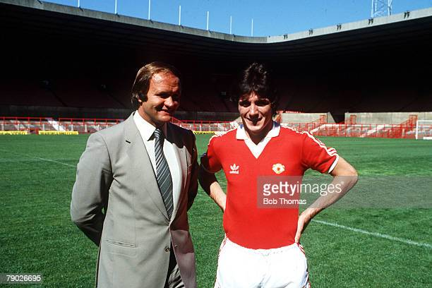 Sport Football Old Trafford England August 1981 Manchester United Manager Ron Atkinson is pictured with his new signing from Arsenal Frank Stapleton