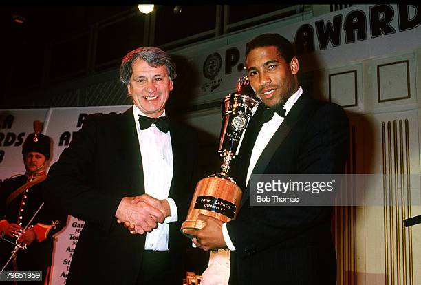 10th April 1988 PFA Awards London Players Player of the Year John Barnes presented with his trophy by England Manager Bobby Robson