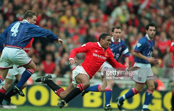 10th April 1994, FA, Cup Semi-Final at Wembley, Manchester United 1 v Oldham Athletic 1 aet, Manchester United's Paul Ince flies through the air as...