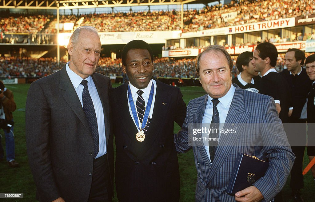 "Sport. Football. pic: 10th June 1987. FIFA.Exhibition Match in Zurich. Italy 3. v Argentina 1. FIFA.President Joao Havelange, left, with Brazil's Pele, who won an award for services to football, and FIFA. Secretary Joseph ""Sepp"" Blatter. : News Photo"