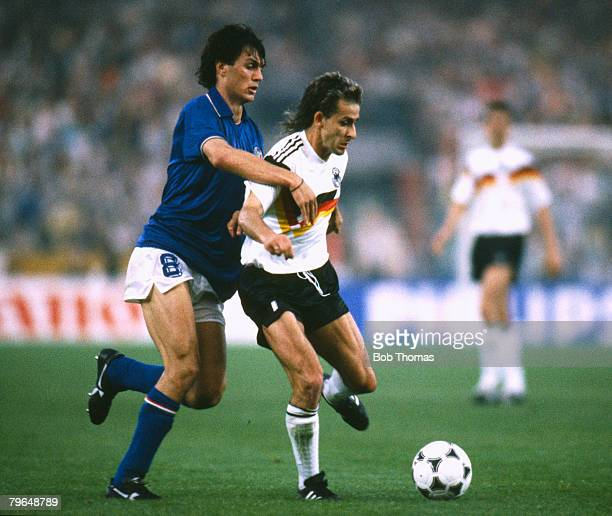 10th June 1988 European Championship in Dusseldorf West Germany 1 v Italy 1 West Germany's Pierre Littbarski under pressure from Italy's Paolo Maldini