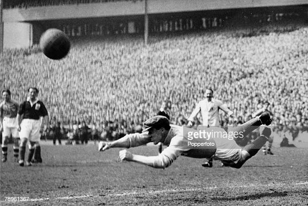 10th May 1947, Representative Match at Hampden Park, Glasgow, Great Britain 6 v Rest of Europe 1, Great Britain's goalkeeper Frank Swift dives...