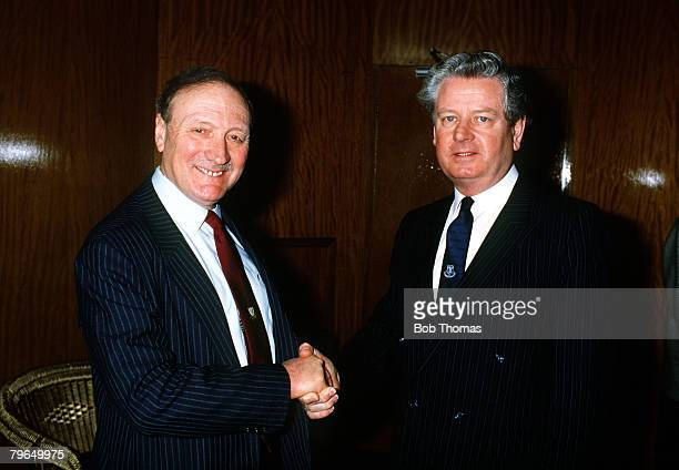 10th May 1986, F,A,Cup Final at Wembley, Everton 1, v Liverpool 3, Liverpool Chairman John Smith , left with his Everton counterpart Philip Carter