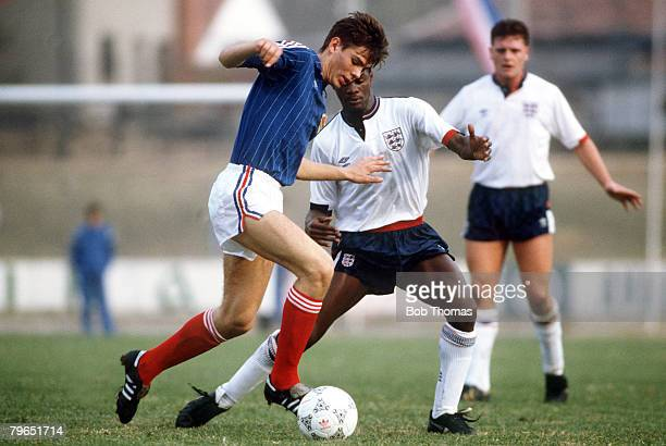 10th November 1987, UEFA Under 21 Championship, Zeman, Yugoslavia 1 v England 5, Yugoslavia's Zvonimir Boban on the ball with England's Paul Davis...
