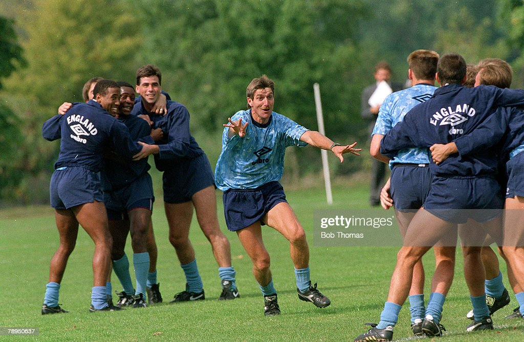 Sport. Football. pic: 10th September 1990. England Training at Bisham Abbey. England Coach Steve Harrison in high spirits in a light hearted training session. : News Photo