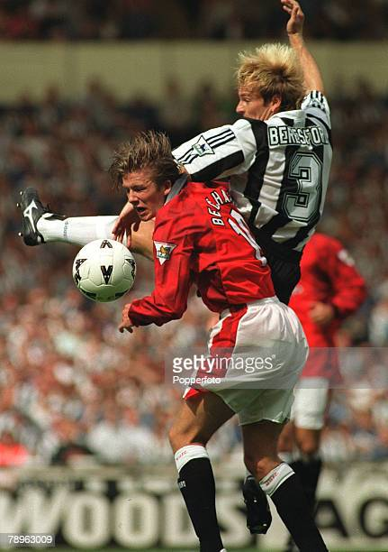 11th August 1996 FA Charity Shield Wembley London Manchester United 4 v Newcastle United 0 Manchester United's David Beckham clashes with John...