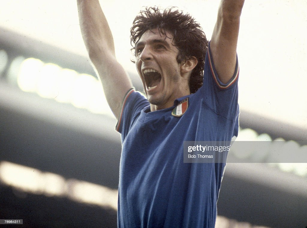Sport. Football. pic: 11th July 1982. 1982 World Cup Final in Madrid. Italy 3 v West Germany 1. Italy striker Paulo Rossi celebrates his and Italy's first goal. : News Photo