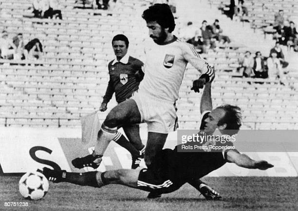 11th June 1978 1978 World Cup Finals in Argentina Scotland 1 v Iran 1 in Cordoba Scotland's Archie Gemmill slides in to tackle Iran's Hassan Nazari