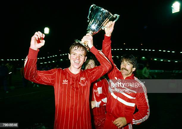 11th May 1983 European Cup Winners Cup Final in Gothenburg Aberdeen 2 v Real Madrid 1 Aberdeen's Alex McLeish left and Stuart Kennedy celebrate with...