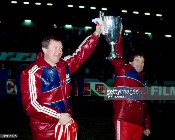 11th May 1983, European Cup Winners Cup Final, Aberdeen Manager Alex Ferguson, left with his assistant Archie Knox parade the European Cup Winners Cup