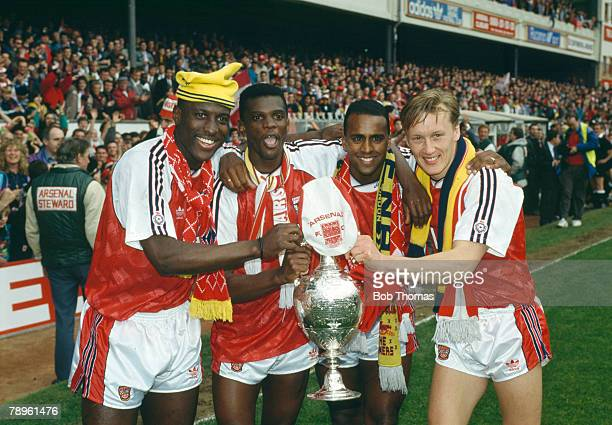 11th May 1991 Arsenal 6 v Coventry City 1 Arsenal's leftright Kevin Campbell Paul Davis David Rocastle and Lee Dixon celebrate the League...