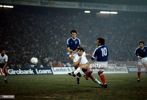 11th November 1987, European Championship in Belgrade, Yugoslavia 1 v England 4, England captain Bryan Robson scores the 3rd goal past Yugoslavia's...