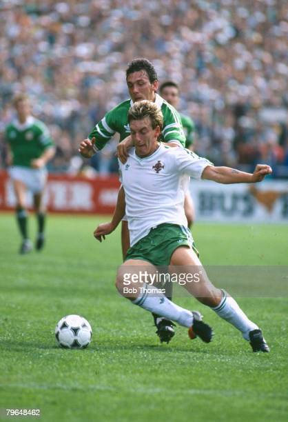 11th October 1989 World Cup Qualifier in Dublin Republic of Ireland 3 v Northern Ireland 0 Northern Ireland's Alan McDonald tries to hold off a...
