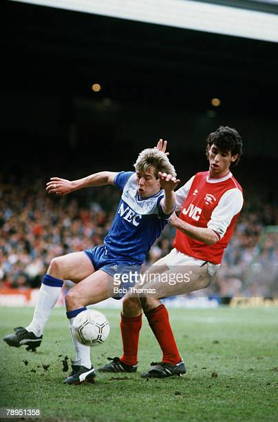 12th April 1986 Division 1 Arsenal 0 v Everton 1 Everton's Adrian Heath is challenged by Arsenal's Martin Keown