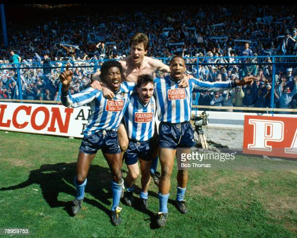 12th April 1987 FA Cup SemiFinal at Hillsborough Coventry City 3 v Leeds United 2 aet Coventry City's leftright Dave Bennett Keith Houchen Micky Gynn...