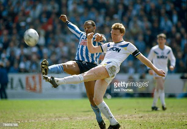 12th April 1987 FA Cup SemiFinal at Hillsborough Coventry City 3 v Leeds United 2 aet Coventry City's Cyrille Regis left contests a high ball with...