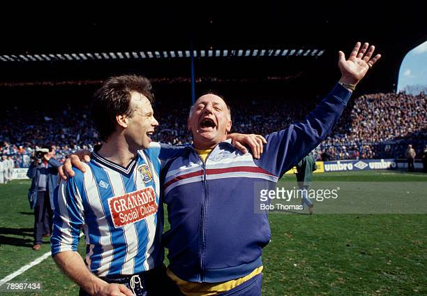 12th April 1987 FACup SemiFinal at Hillsborough Coventry City 3 v Leeds United 2 aet Coventry City Chief Coach John Sillett shouts for joy as he...
