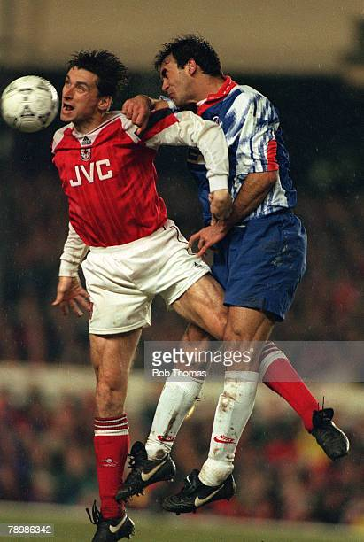 12th April 1994 European Cup Winners Cup SemiFinal 2nd Leg Arsenal 1 v Paris St Germain 0 Arsenal striker Alan Smith gets to a high ball before Paris...
