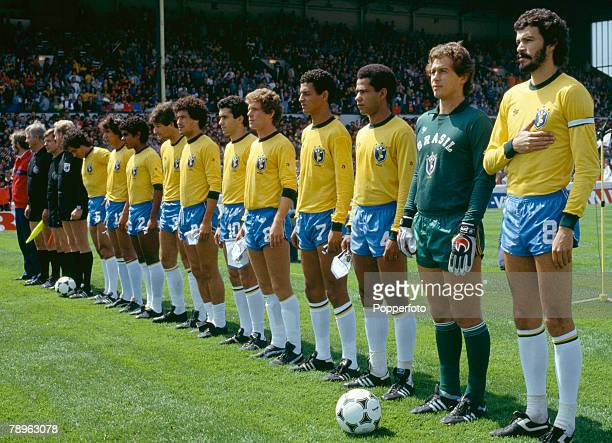 12th June 1983 Friendly International at Cardiff Wales v Brazil The Brazil lineup the players include Socrates Emerson Leao Luizinho Borges Careca...