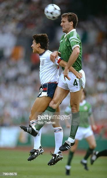 12th June 1988 European Championship in Stuttgart Republic of Ireland 1 v England 1 Republic of Ireland's Mick McCarthy outjumps England's Gary...