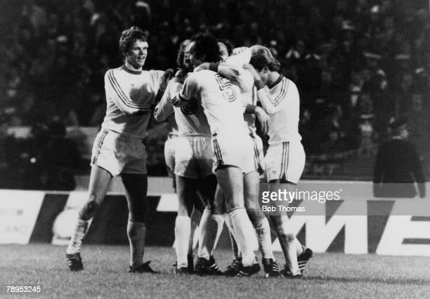 12th May 1976, European Cup Final at Hampden Park, Bayern Munich 1 v St, Etienne 0, Bayern Munich captain Franz Beckenbauer joins in the Munich...