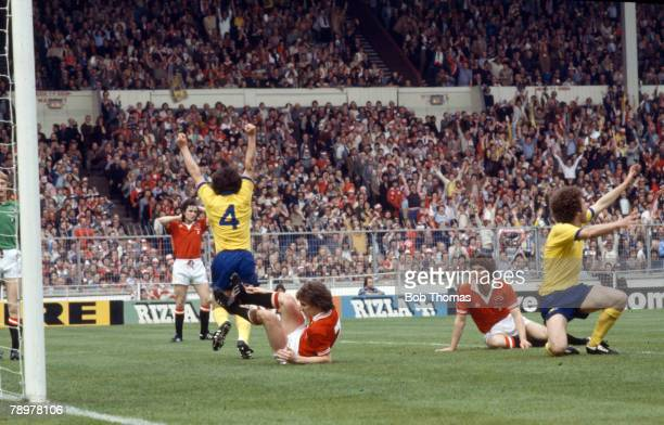 12th May 1979 1979 FA Cup Final at Wembley Arsenal 3 v Manchester United 2 Arsenal's Brian Talbot has scored the first goal with Alan Sunderland...