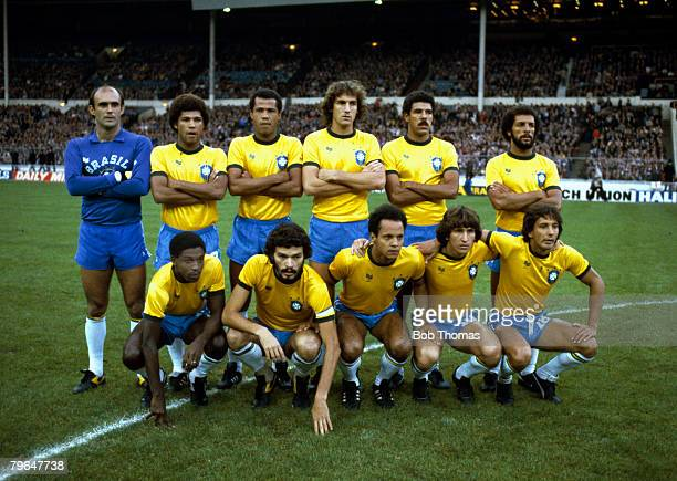 12th May 1981 Friendly International at Wembley England 0 v Brazil 1 Brazil team group includes players Waldir Peres Junior Toninho Cerezo Socrates...