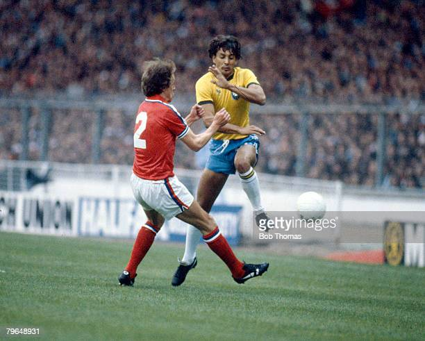 12th May 1981 International Match at Wembley England 0 v Brazil 1 England defender Phil Neal challenges Brazil's Eder Phil Neal won 16 major honours...