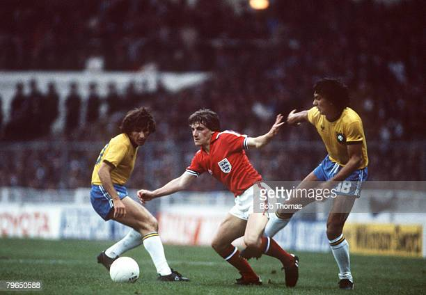 12th May 1981Friendly International Wembley England v Brazil England's Steve Coppell centre takes on Brazil's Zico left and Eder Steve Coppell was a...