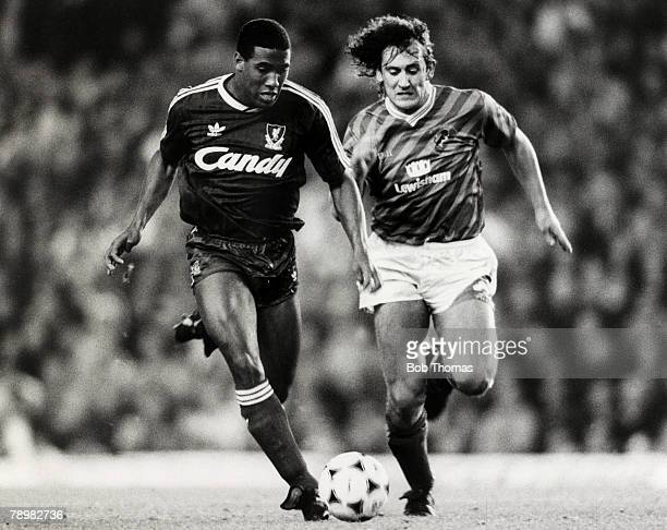 12th November 1988 Division 1 Liverpool 2v Millwall 1 Liverpool's John Barnes races away with Millwall's Terry Hurlock in pursuit John Barnes played...