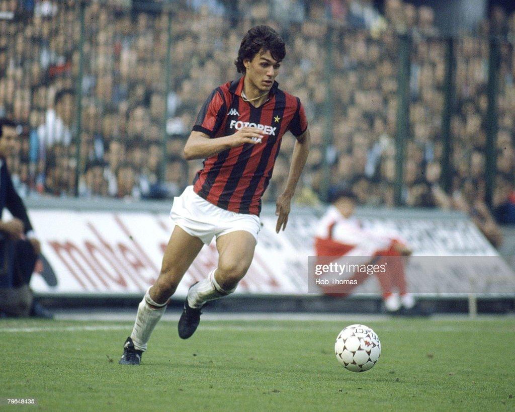 BT Sport, Football, pic: 12th October 1986, Italian League, Paolo Maldini, A,C, Milan : News Photo