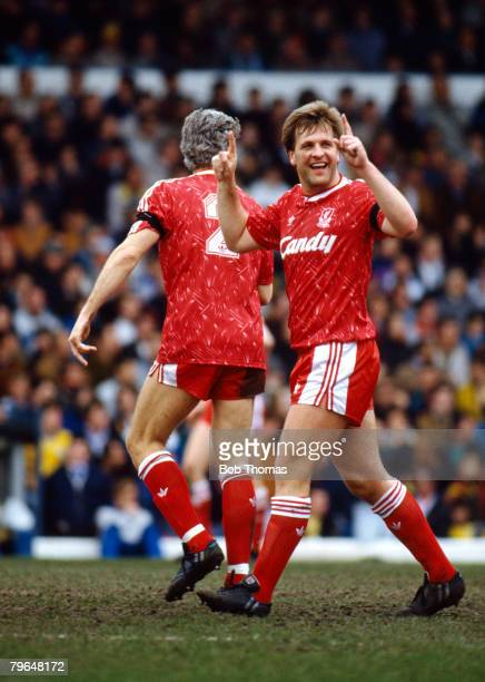 13th April 1991 Division 1 Leeds United 4 v Liverpool 5 Liverpool's Jan Molby celebrates after scoring Jan Molby a Danish international played for...