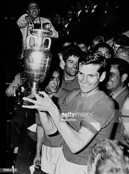 13th June 1968, European Nations Cup Final, Replay, in Rome, Italy v Yugoslavia 0, Italian captain Giacinto Facchetti with the trophy