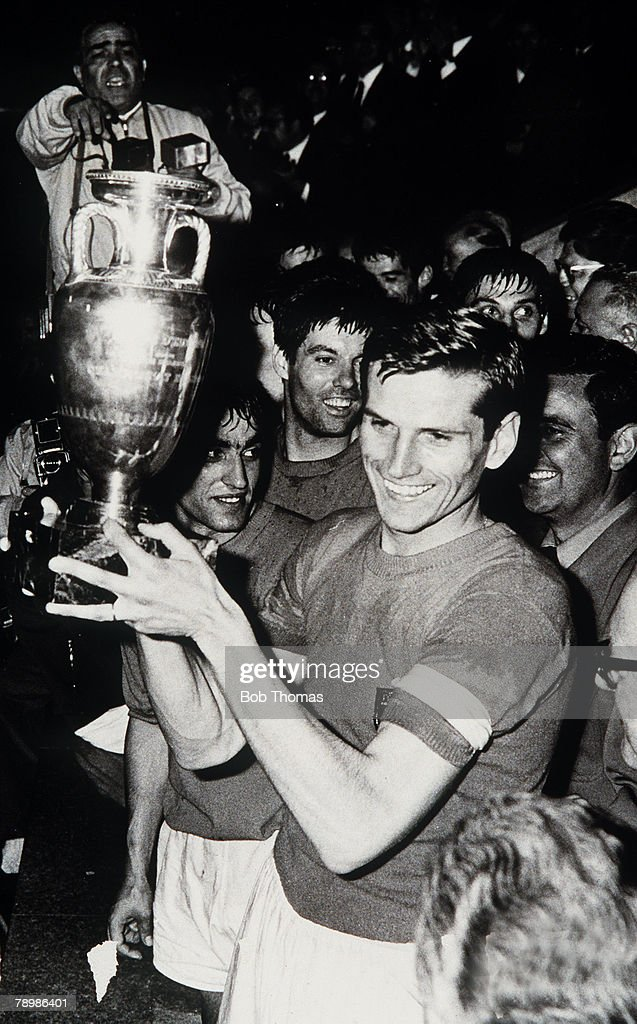 Sport. Football. pic: 13th June 1968. European Nations Cup Final. Replay. in Rome. Italy.2.v Yugoslavia 0. Italian captain Giacinto Facchetti with the trophy. : News Photo