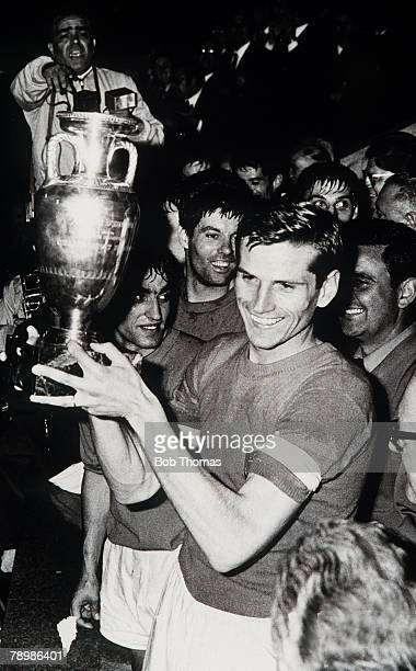 13th June 1968 European Nations Cup Final Replay in Rome Italyv Yugoslavia 0 Italian captain Giacinto Facchetti with the trophy