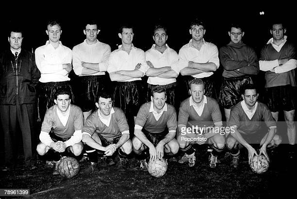 13th March 1957 League Representative Match Scottish Football League 3 v English Football League 2 at Ibrox Stadium The English team at training Back...