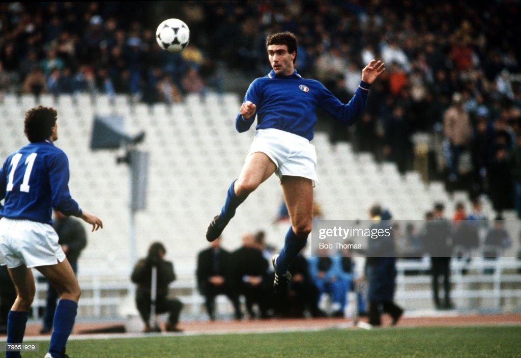Sport, Football, pic: 13th March 1985, Friendly International, Greece 0 v Italy 0, Athens, Giuseppe Bergomi, Italy : News Photo