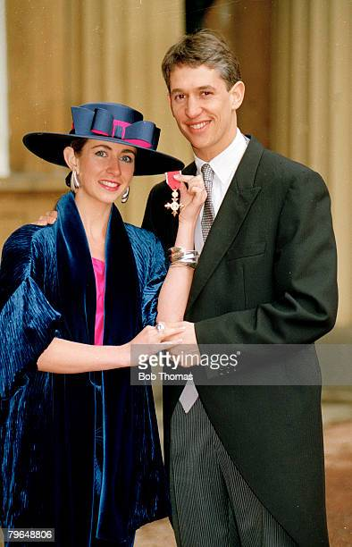 13th March 1992 London England captain Gary Lineker poses with his wife Michelle after he had received the OBE Gary Lineker one of England's best...