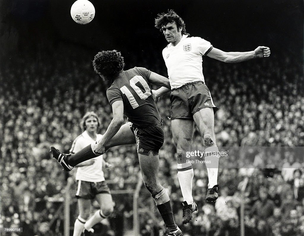 Sport. Football. pic: 13th May 1978. British Championship. Wales 1.v England 3. at Ninian Park, Cardiff. England's Dave Watson wins the ball in the air with a powerful header. : News Photo