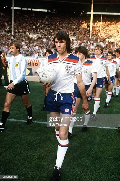13th May 1980 International Match at Wembley England 3 v Argentina 1 England central defender Dave Watson who won 65 international caps between...