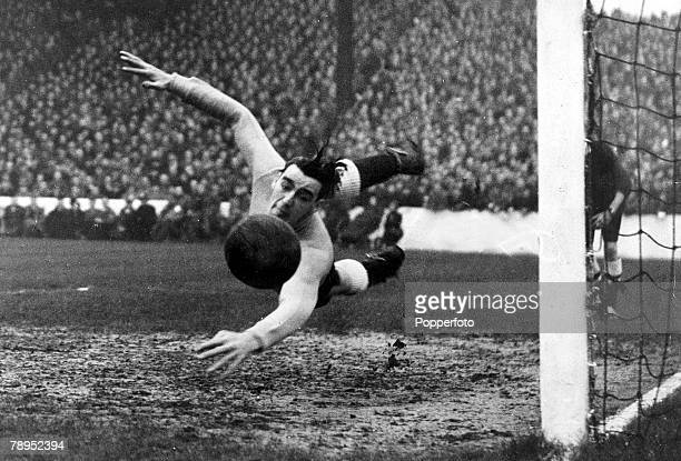 13th November 1946 International Match at Manchester England 3 v Wales 0 England goalkeeper Frank Swift dives at full stretch to make the save Frank...