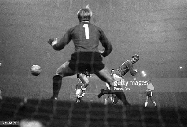 13th November 1968 European Cup 2nd Round Ist Leg at Old Trafford Manchester United 3 v Anderlecht 0 Manchester United's Denis Law scores the first...