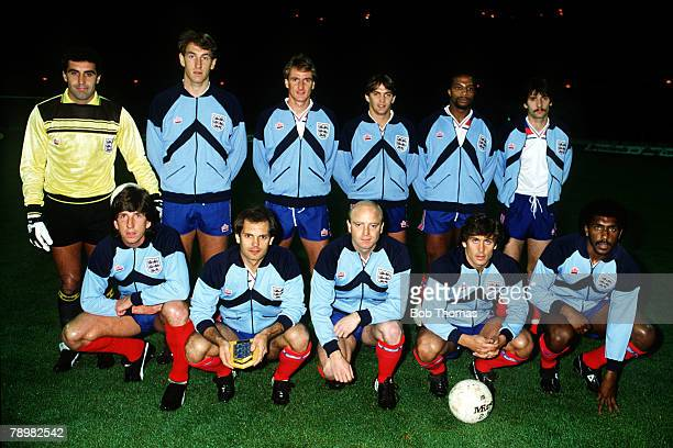 13th Octber 1982 Friendly International at Wembley England 1 v West Germany 2 England team back row leftright Peter Shilton Terry Butcher Phil...
