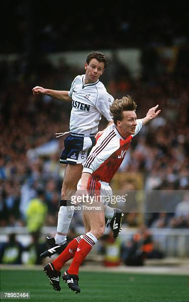 14th April 1991 FA Cup Semi Final at Wembley Arsenal 1 v Tottenham Hotspur 3 Tottenham Hotspur's David Howells outjumps Arsenal's Lee Dixon