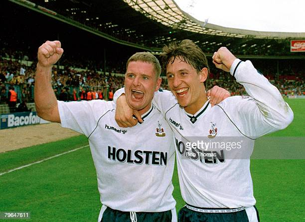 14th April 1991 FACup SemiFinal at Wembley Arsenal 1 v Tottenham Hotspur 3 Tottenham Hotspur's Paul Gascoigne and Gary Lineker celebrate together...
