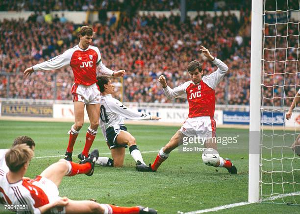 14th April 1991 FACup SemiFinal at Wembley Arsenal 1 v Tottenham Hotspur 3 Tottenham Hotspur's Gary Lineker scores their 2nd goal past Arsenal...