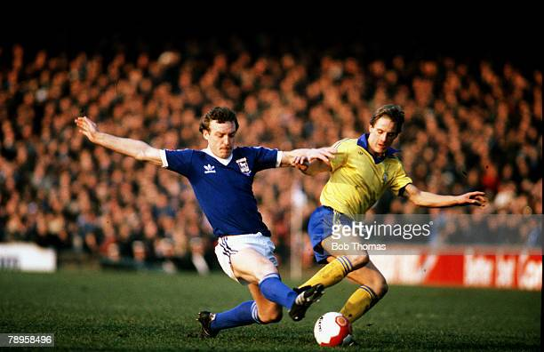 14th February 1981 FA Cup 5th Round Ipswich Town v Charlton Athletic Ipswich defender Kevin Beattie tackles Charlton Athletic's Paul Walsh