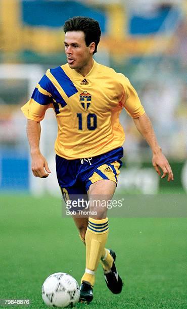 14th June 1992 European Champinship Finals in Sweden Sweden 1 v Denmark 0 Sweden's Anders Limpar on the ball